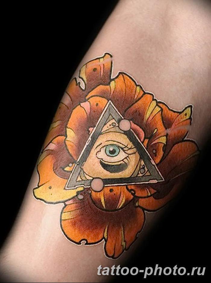 фото рисунка тату глаз в треугольнике 27.11.2018 №008 - tattoo of eyes - tattoo-photo.ru