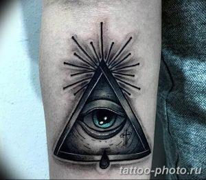 фото рисунка тату глаз в треугольнике 27.11.2018 №010 - tattoo of eyes - tattoo-photo.ru