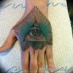 фото рисунка тату глаз в треугольнике 27.11.2018 №049 - tattoo of eyes - tattoo-photo.ru