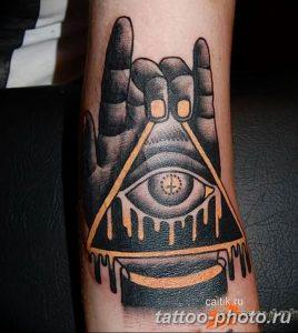 фото рисунка тату глаз в треугольнике 27.11.2018 №277 - tattoo of eyes - tattoo-photo.ru