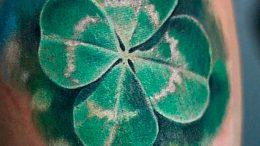 фото тату клевер четырехлистный 24.12.2018 №441 - four leaf clover tattoo - tattoo-photo.ru
