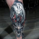 фото биомеханика на икре тату 06.04.2019 №022 - biomechanics on the calf - tattoo-photo.ru
