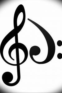 фото тату басовый ключ 01.05.2019 №062 - tattoo bass clef - tattoo-photo.ru