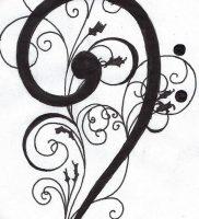 фото тату басовый ключ 01.05.2019 №067 — tattoo bass clef — tattoo-photo.ru