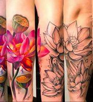 фото тату кувшинка 30.04.2019 №091 — tattoo waterlily — tattoo-photo.ru