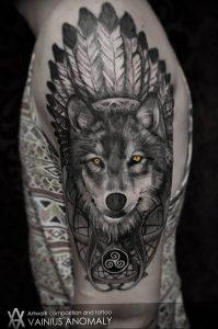 Фото тату волк 20.05.2019 №039 - photo tattoo wolf - tattoo-photo.ru