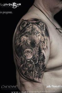 Фото тату волк 20.05.2019 №089 - photo tattoo wolf - tattoo-photo.ru