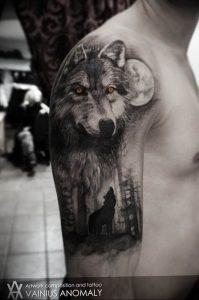 Фото тату волк 20.05.2019 №136 - photo tattoo wolf - tattoo-photo.ru