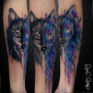 Фото тату волк 20.05.2019 №319 - photo tattoo wolf - tattoo-photo.ru