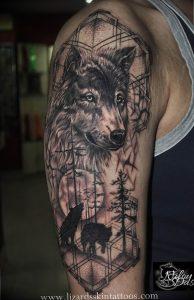 Фото тату волк 20.05.2019 №401 - photo tattoo wolf - tattoo-photo.ru