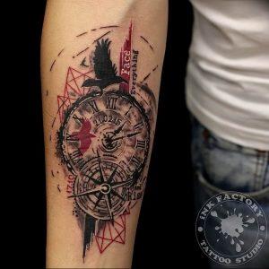 Фото тату часы 20.05.2019 №009 - photo tattoo watch - tattoo-photo.ru