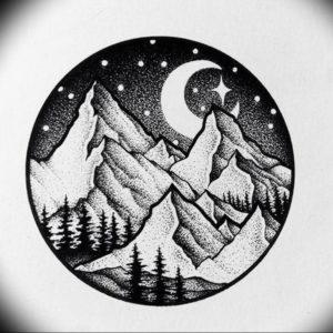 Фото тату горы в круге 23.07.2019 №030 - mountain tattoo in a circle - tattoo-photo.ru