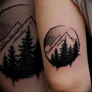 Фото тату горы в круге 23.07.2019 №037 - mountain tattoo in a circle - tattoo-photo.ru