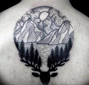 Фото тату горы в круге 23.07.2019 №046 - mountain tattoo in a circle - tattoo-photo.ru