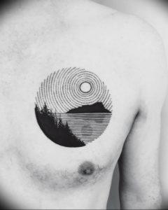 Фото тату горы в круге 23.07.2019 №048 - mountain tattoo in a circle - tattoo-photo.ru