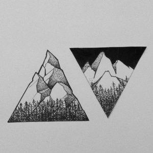 Фото тату горы в треугольнике 23.07.2019 №004 - mountain triangle tattoo - tattoo-photo.ru