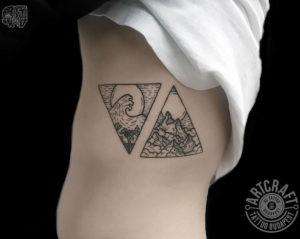 Фото тату горы в треугольнике 23.07.2019 №006 - mountain triangle tattoo - tattoo-photo.ru