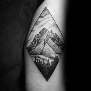 Фото тату горы в треугольнике 23.07.2019 №035 - mountain triangle tattoo - tattoo-photo.ru