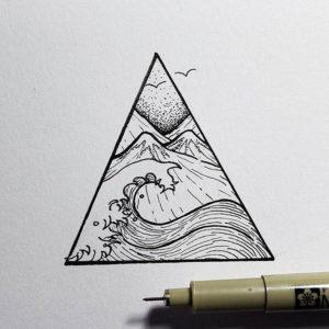 Фото тату горы в треугольнике 23.07.2019 №043 - mountain triangle tattoo - tattoo-photo.ru