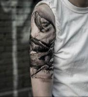 Фото тату горы мужские 23.07.2019 №006 — men's mountains tattoo — tattoo-photo.ru