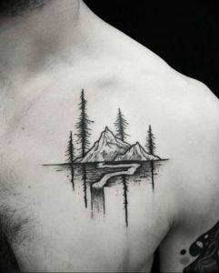 Фото тату горы мужские 23.07.2019 №013 - men's mountains tattoo - tattoo-photo.ru