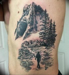Фото тату горы мужские 23.07.2019 №014 - men's mountains tattoo - tattoo-photo.ru