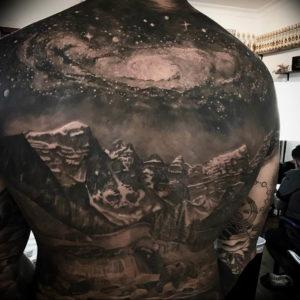 Фото тату горы мужские 23.07.2019 №027 - men's mountains tattoo - tattoo-photo.ru