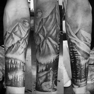 Фото тату горы мужские 23.07.2019 №030 - men's mountains tattoo - tattoo-photo.ru