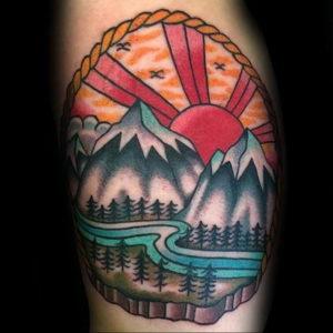 Фото тату горы мужские 23.07.2019 №034 - men's mountains tattoo - tattoo-photo.ru