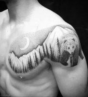 Фото тату горы мужские 23.07.2019 №038 — men's mountains tattoo — tattoo-photo.ru