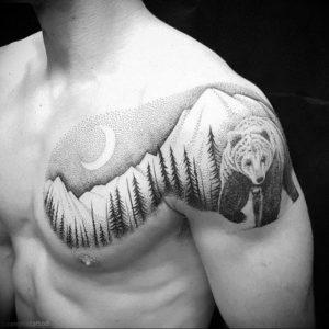 Фото тату горы мужские 23.07.2019 №038 - men's mountains tattoo - tattoo-photo.ru
