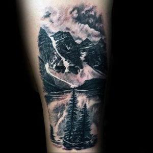 Фото тату горы мужские 23.07.2019 №040 - men's mountains tattoo - tattoo-photo.ru