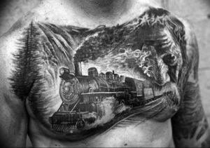 Фото тату горы мужские 23.07.2019 №044 - men's mountains tattoo - tattoo-photo.ru