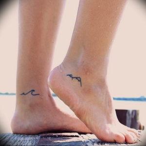 Фото тату горы на ноге 23.07.2019 №008 - mountain tattoo on foot - tattoo-photo.ru