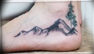 Фото тату горы на ноге 23.07.2019 №015 - mountain tattoo on foot - tattoo-photo.ru