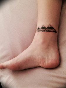 Фото тату горы на ноге 23.07.2019 №037 - mountain tattoo on foot - tattoo-photo.ru