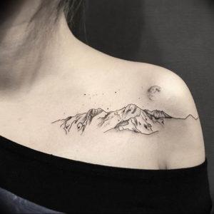 Фото тату горы на плече 23.07.2019 №004 - mountain tattoo on the shoulder - tattoo-photo.ru