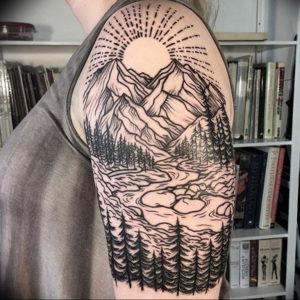 Фото тату горы на плече 23.07.2019 №019 - mountain tattoo on the shoulder - tattoo-photo.ru