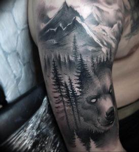 Фото тату горы на плече 23.07.2019 №036 - mountain tattoo on the shoulder - tattoo-photo.ru