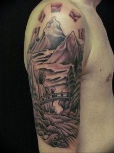 Фото тату горы на плече 23.07.2019 №041 - mountain tattoo on the shoulder - tattoo-photo.ru
