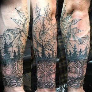 Фото тату горы на предплечье 23.07.2019 №024 - forearm mountain tattoo - tattoo-photo.ru