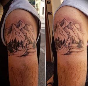 Фото тату горы на предплечье 23.07.2019 №041 - forearm mountain tattoo - tattoo-photo.ru