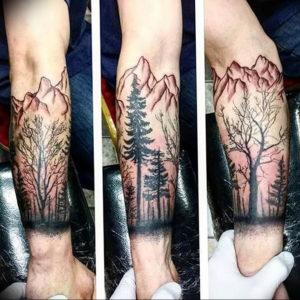 Фото тату горы на предплечье 23.07.2019 №069 - forearm mountain tattoo - tattoo-photo.ru