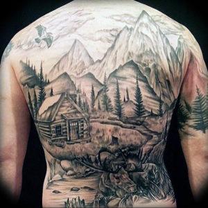 Фото тату горы на спине 23.07.2019 №034 - mountain tattoo on the back - tattoo-photo.ru