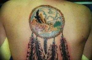 Фото тату горы на спине 23.07.2019 №039 - mountain tattoo on the back - tattoo-photo.ru