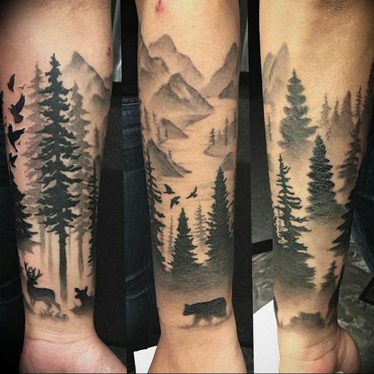 Тату блэкворк фото горы и лес