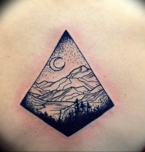 Фото тату лес и горы 23.07.2019 №026 - mountain forest tattoo - tattoo-photo.ru