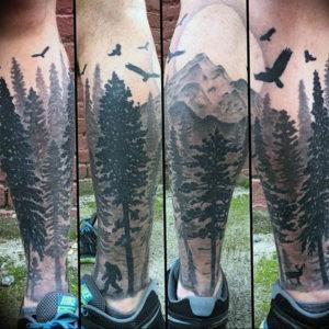 Фото тату лес и горы 23.07.2019 №031 - mountain forest tattoo - tattoo-photo.ru