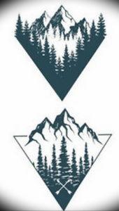 Фото тату лес и горы 23.07.2019 №036 - mountain forest tattoo - tattoo-photo.ru