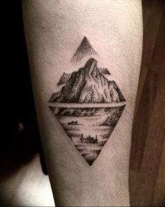 Фото тату море и горы 23.07.2019 №005 - mountain sea tattoo - tattoo-photo.ru